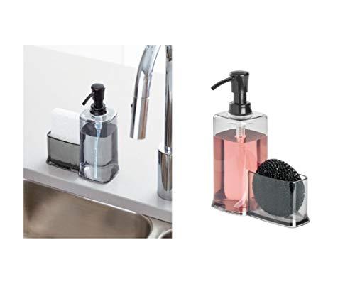"iDesign Vella Plastic Soap Pump with Caddy Soap Dispenser with Storage Compartment for Bathroom, Kitchen Countertops, 6.5"" x 3.1"" x 8.25"", Black"