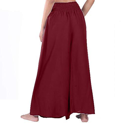 Pantalon Yoga Couleur Larges Hippie Palazzo Femme Coulant Rouge OPZukXi