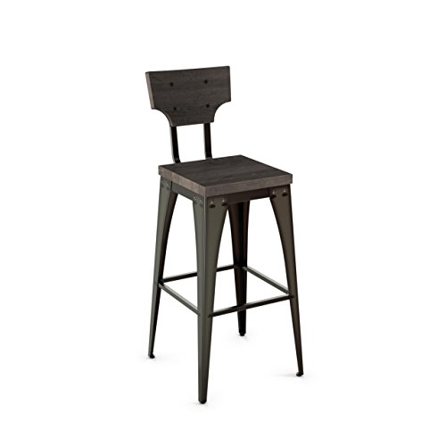 Amisco Station Metal Bar Stool in Semi-transparent Gun Metal Finish and Medium Dark Gray Distressed -