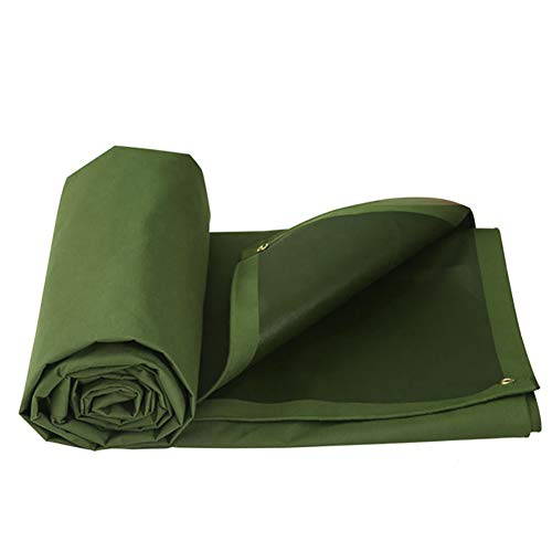 Tablecloth Pool Drops Green (HQCC Tarpaulin Heavy Duty Tarp Canvas Waterproof,Army Green Multi-Use Ground Tent Cover Multilayered Protection for Outdoor Camping RV Truck and Trailers,660G/M² (Size : 5m×3m))