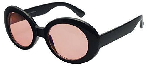 90s Inspired Costumes (SunglassUP - Retro Bold Arms Color Tinted Oval Lens Novelty Sunglasses 50mm (Black | Pink))