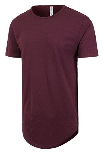 JC DISTRO Mens Hipster Hip Hop Cotton Elong Crewneck T-Shirt Wine Medium by JC DISTRO