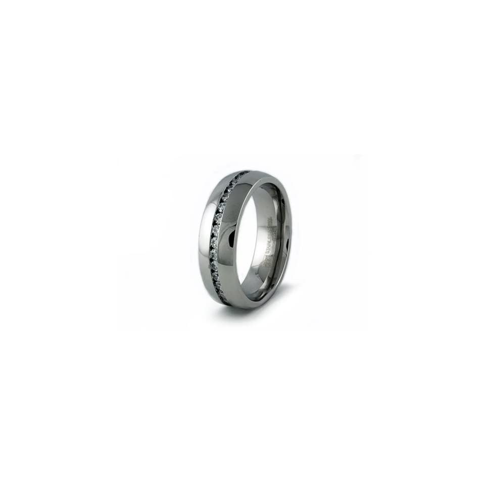 Mens Stainless Steel Wedding Ring w/ CZs (Size 8) Available Size 8, 9, 10, 11, 12