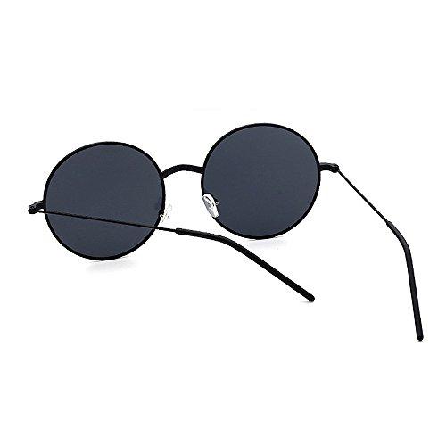 bordeadas lente de estilo de protección sol las PC Gafas gafas de Gafas Marco redondas sol clásicas mujeres de UV de metal de para sol sol Negro v unisex la señora para conducir gafas la de retro hombres de pwqZCExqd