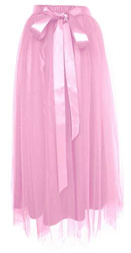 Dancina Women's Ankle Length Tutu Maxi A-line Long Tulle Skirt Regular (Size 2-18) Pink]()