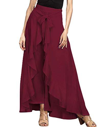 FLORHO Women Casual Ruffle Palazzo Long Pants Split High Waist Pleated Maxi Skirt Wine Red S