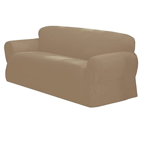 Maytex Mills 1-Piece Canvas Slipcover for Loveseat, Ivory (Couch Cover Ottoman)