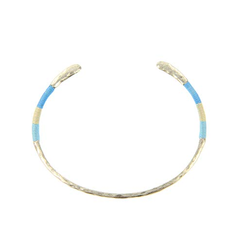 - Pura Vida Gold Threaded Cuff Bracelet - Brass Base, Rhodium Plating - Tricolor Accent, Open Bangle