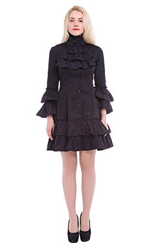 Pagoda Dress Costumes (Nuoqi Womens Darkness Gothic Lolita Pagoda Sleeve Black Skirt Dress)