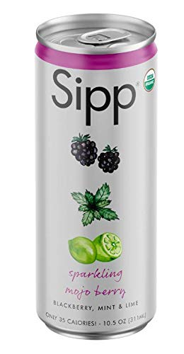 Sipp Sparkling Organic Mojo Berry Beverage | Refreshing Blackberry, Mint, Lime Flavor | Clean Organic Fruit & Herb Ingredients | Low Sugar, Low Calorie | 10.5 Ounce Cans | Pack of 12