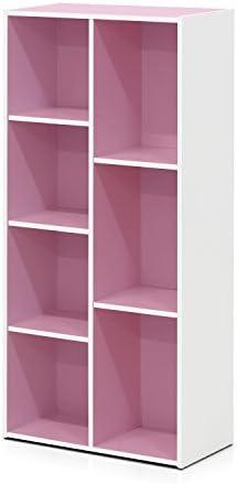Furinno Reversible Color Open Shelf Bookcase/Bookshelf/Storage Shelves, 7-Cube, White/Pink