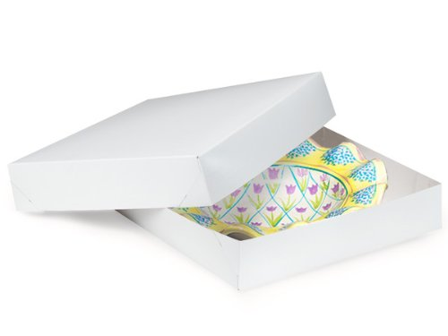 White Gloss Gift Box - 8.5'' x 8.5'' x 2'' - 100 Count by Nashville Wraps