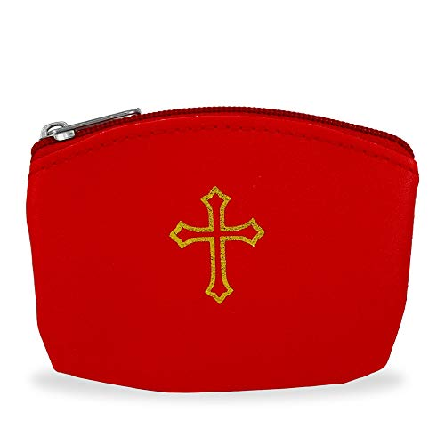 (Red Rosary Pouch with Gold Cross Design and Zipper)