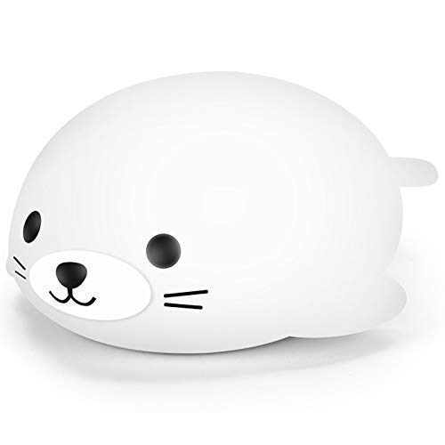 Night Light for Kids Cute Squishy Silicone Animal, Baby Night Lights Portable and Rechargeable, Nursery, Infant or Toddler, Touch Sensor to Change Cool Bright LED Nightlight Lamp (White Seal) -