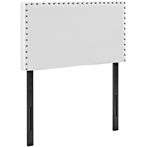 Modway Phoebe Faux Leather Twin Size Headboard With Nailhead Trim in White by Modway