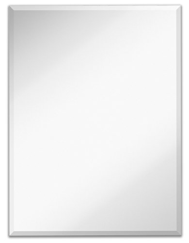 "Large Simple Rectangular Streamlined 1 Inch Beveled Wall Mirror | Premium Silver Backed Rectangle Mirrored Glass Panel Vanity, Bedroom, or Bathroom Hangs Horizontal & Vertical Frameless (30""W x 40""H)"