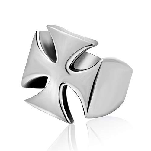 Men's High Polished Silver Tone Stainless Steel Maltese Cross Ring Band U.S.RingSize 12