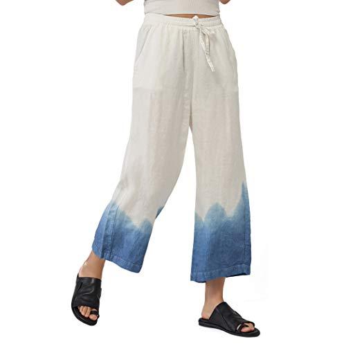 Ecupper Women's Elastic Waist Causal Loose Trousers 100 Linen Cropped Wide Leg Pants Tie Dyeing 2-4 ()