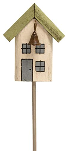 Pretty Wooden Houses Garden Stake for Your Home Decor, in Three Assorted Colors. Outdoor Garden Stakes Decoration Plant (White) ()