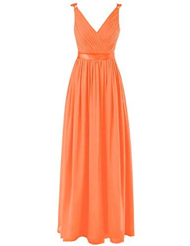 (Cdress Chiffon Bridesmaid Dresses Long Evening Formal Gowns Wedding Prom Party Dress V-Neck Sleeveless US 8 Orange)