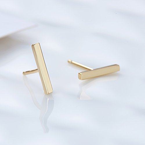SLeaf-Minimalist-Bar-Earrings-Studs-Sterling-Silver-Square-Flat-Bar-Stud-Earrings-Minimalism-Dainty-Earrings