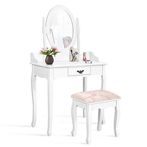 Giantex Bathroom Vanity Table Set w/Mirror Cushioned Stool Makeup Dressing Table Set -