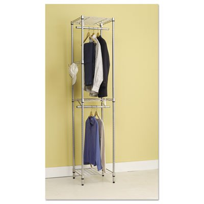 Wire Shelving Garment Tower, 18w x 18d x 81 3/4h, Black, Sold as 1 Each