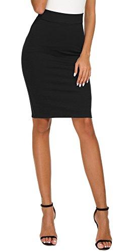EXCHIC Women's High Waist Bodycon Midi Pencil Skirt (M, Black)