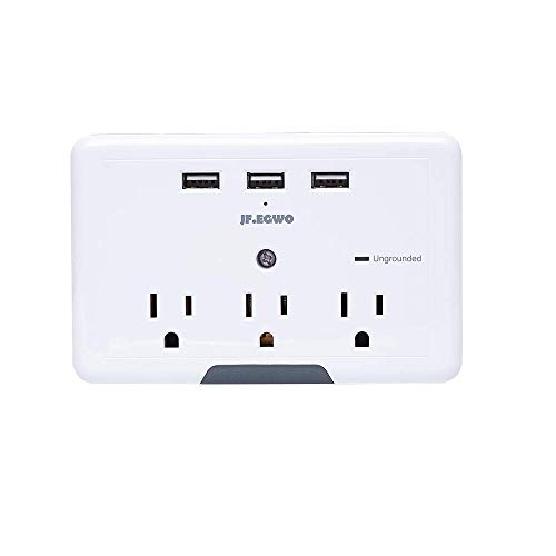 Multi Plug 3 Outlets 3 USB Ports, Wall Plug Surge Protector USB, 3.1 A 918 Joules USB Outlet Adapter, USB Wall Plug Charging Stations, Wall Mount USB Multi Outlet Plug Adapter JF.EGWO, White