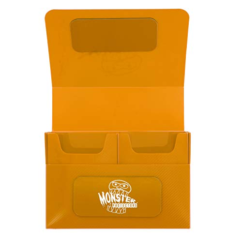 Monster Protectors Trading Card Double Deck Box with Magnetic Closure - Orange (Fits Yugioh, Pokemon, Magic the Gathering Cards)