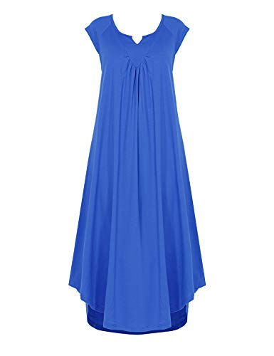 Ekouaer Sleepwear Cotton v Neck Pajamas Cap Sleeve Long Nightgowns for Women Royal Blue