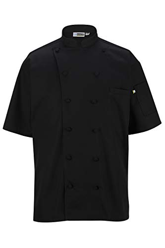 EDWARDS 12 BUTTON SHORT SLEEVE CHEF COAT WITH MESH X-LARGE BLACK