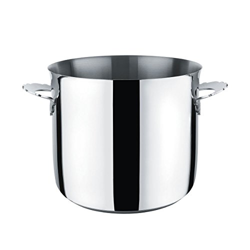 Alessi MW100/20 ''Dressed'' Stockpot in 18/10 Stainless Steel Mirror Polished Magnetic Steel Bottom Suitable For induction Cooking, Black by Alessi