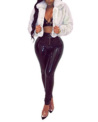 (Ophestin Women Solid Color Long Sleeve Shaggy Lapel Faux Fur Coat Short Jacket Outwear Warm Winter White S)