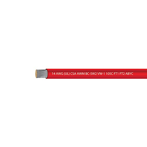 (14 AWG UL Approved Marine Grade Primary Tinned Copper Boat Wire Rated 600 Volts - EWCS Spec - MADE in USA! - RED - 100 FEET)