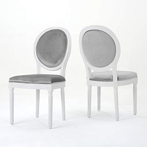 Christopher Knight Home Camilla Traditional New Velvet Dining Chairs Set of 2 Horizon Grey Gloss White