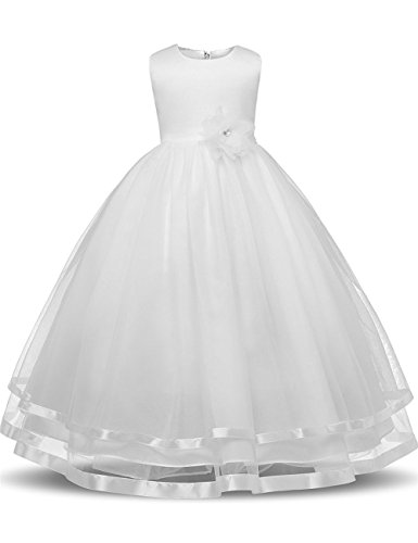 Flower Girl Dresses for Weddings Dresses Elegant First Communion Pageant Party Kids Sleeveless Long Dress Tea Length (Ivory, 130) (Ivory First Communion Dress)