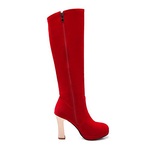 Women's with Heels Zippers Imitated Allhqfashion High Frosted Suede Glass Boots Red and Diamond 4qngd