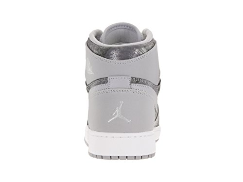 Nike Plateado Gg Retro Sport Air 1 Grey Gris Blanco Silver white Chaussures Jordan Multicolore Prem Mtllc Fille Hi wolf De OBqOrR