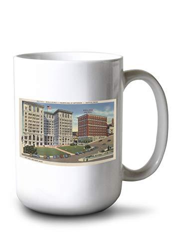Lantern Press Seattle, WA - Hotel Holland and Municipal Bldgs (15oz White Ceramic Mug)