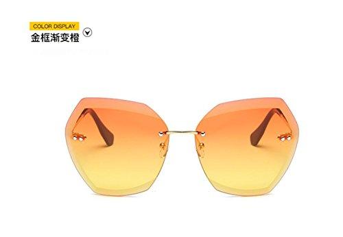color gafas GLSYJ sol cerco gafas de través gradient frame señoras Sin el sol el LSHGYJ moda recortar marea Gold océano de orange de polvo a q7xIdCYwI