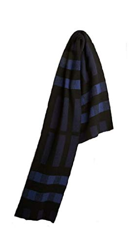 Burberry Wool Cashmere - BURBERRY Men's Half Mega Check Wool Cashmere Blanket Scarf in Navy