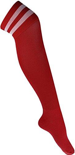Demarkt Männer lange Baumwolle Fußball Socken Fußball Strümpfe Sport Socken über Knie rot