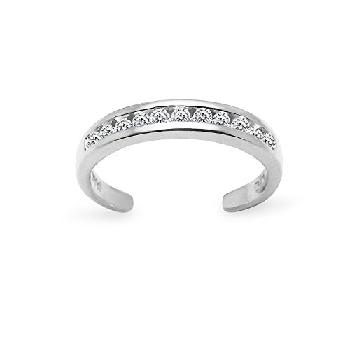 Cubic Zirconia White Gold Toe Ring - Sterling Silver Channel Cubic Zirconia CZ Sparkling AdjustableToe Ring