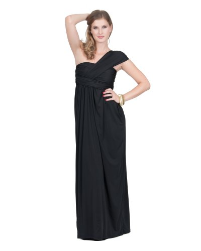 Grecian Style Evening Gowns (KOH KOH Womens Long Sexy One Shoulder Grecian Versatile Prom Gown Cocktail Evening Bridesmaid Formal Summer Semi Formal Maxi Dress, Color Black, Size Medium M)