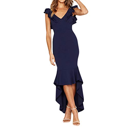 Goddessvan Elegant Ruffled V-Neck Dress Formal Sleeveless Cocktail Flowy V-Neck Gown High Low Evening Party Dress Blue