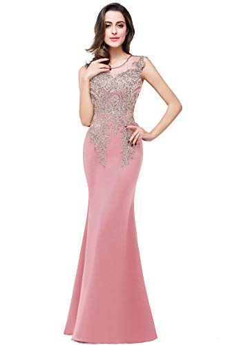 Embroidery Satin Evening Dress - Women's Embroidery Rhinestone Long Mermaid Formal Evening Prom Dress Dusty Pink 2
