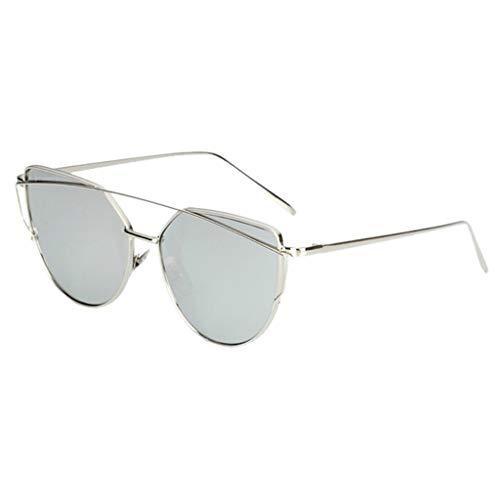 Ikevan_ Women's Flat Lens Mirrored Metal Frame Glasses Oversized Cat Eye Sunglasses UV Protection Eyeglasses (B)