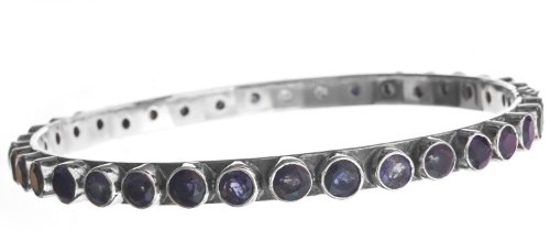 Faceted Iolite Bangle - Sterling Silver