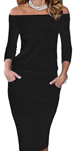 Midi Sleeve Bodycon Sexy Black Long Jaycargogo Off Shoulder Women Dress 0gFCqwFx1